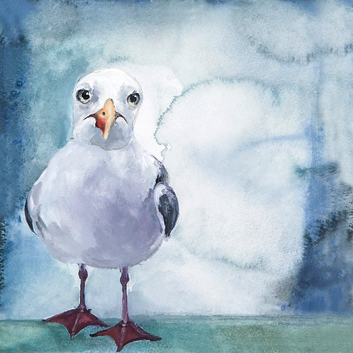 """Sid Seagull"" original painting. Available to view at the Art Cafe, Mersea"