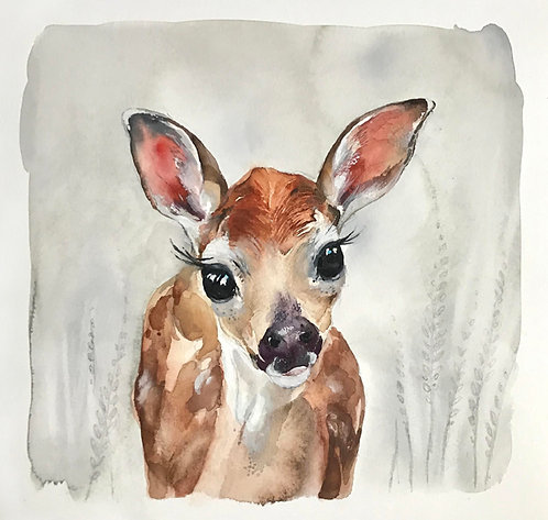 Original Baby deer watercolour painting.