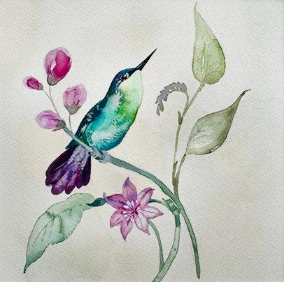 Original painting of vintage Hummingbird