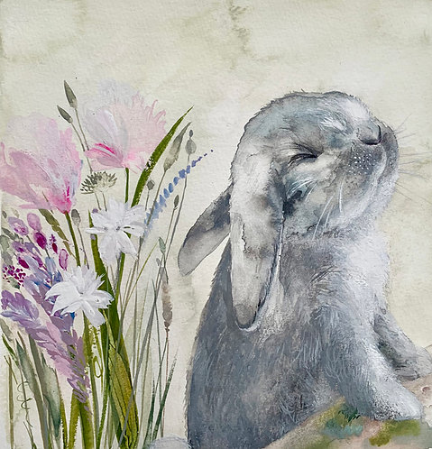 """original painting of """"smell spring in the air"""""""