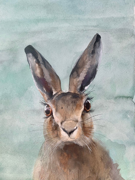 original painting of Hermione hare