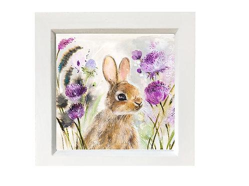 Small framed rabbit hiding in hollihocks