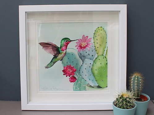 Original Hummingbird and cacti watercolour painting.