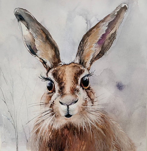 "Original ""Harry Hare"" watercolour painting."