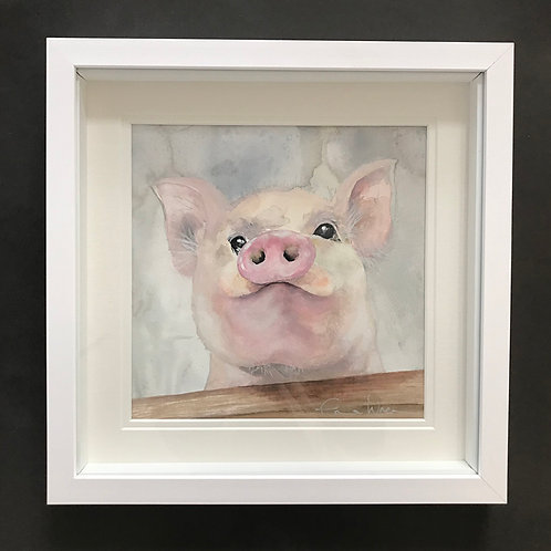 "Original ""Mr pig"" watercolour painting."