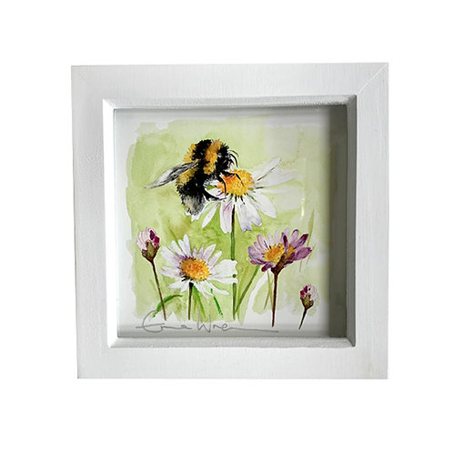 Small framed bee and pink daisy