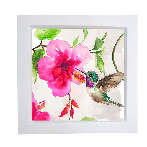 Small framed Hummingbird and Hibiscus