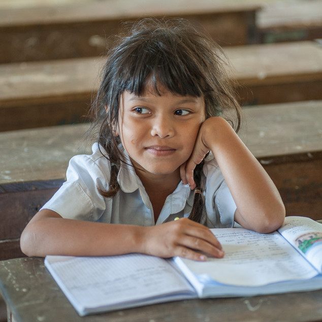 Kid at school, Battambang, Cambodia
