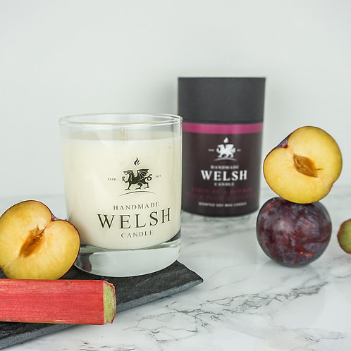 BLACK PLUM & RHUBARB GLASS JAR CANDLE