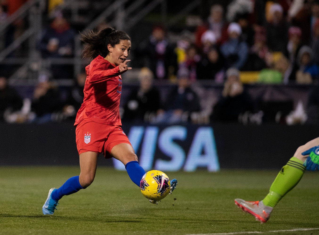 Forward, Christen Press, takes a shot on Sweden during the United States Women's National Team game in Columbus, Ohio.