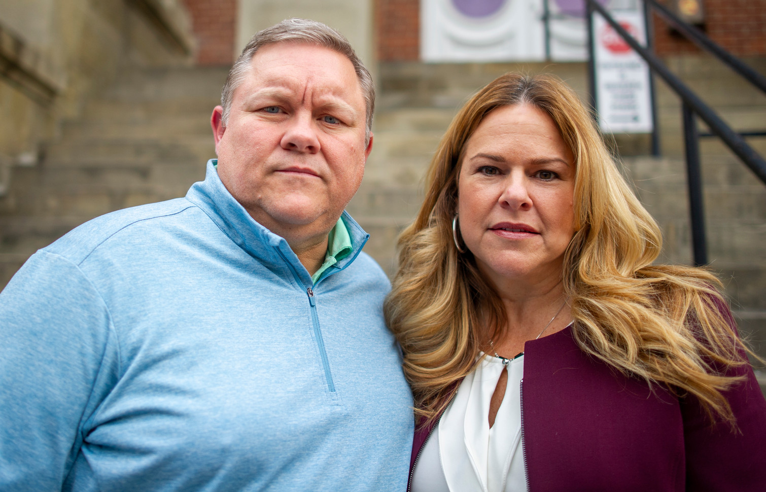 Wade and Kathleen Wiant, parents of Collin Wiant, a freshman at Ohio University who died after collapsing at his fraternity's annex house in November 2018, pose for a portrait after the initial hearing of some of Collin's fraternity brothers in Athens, Ohio.
