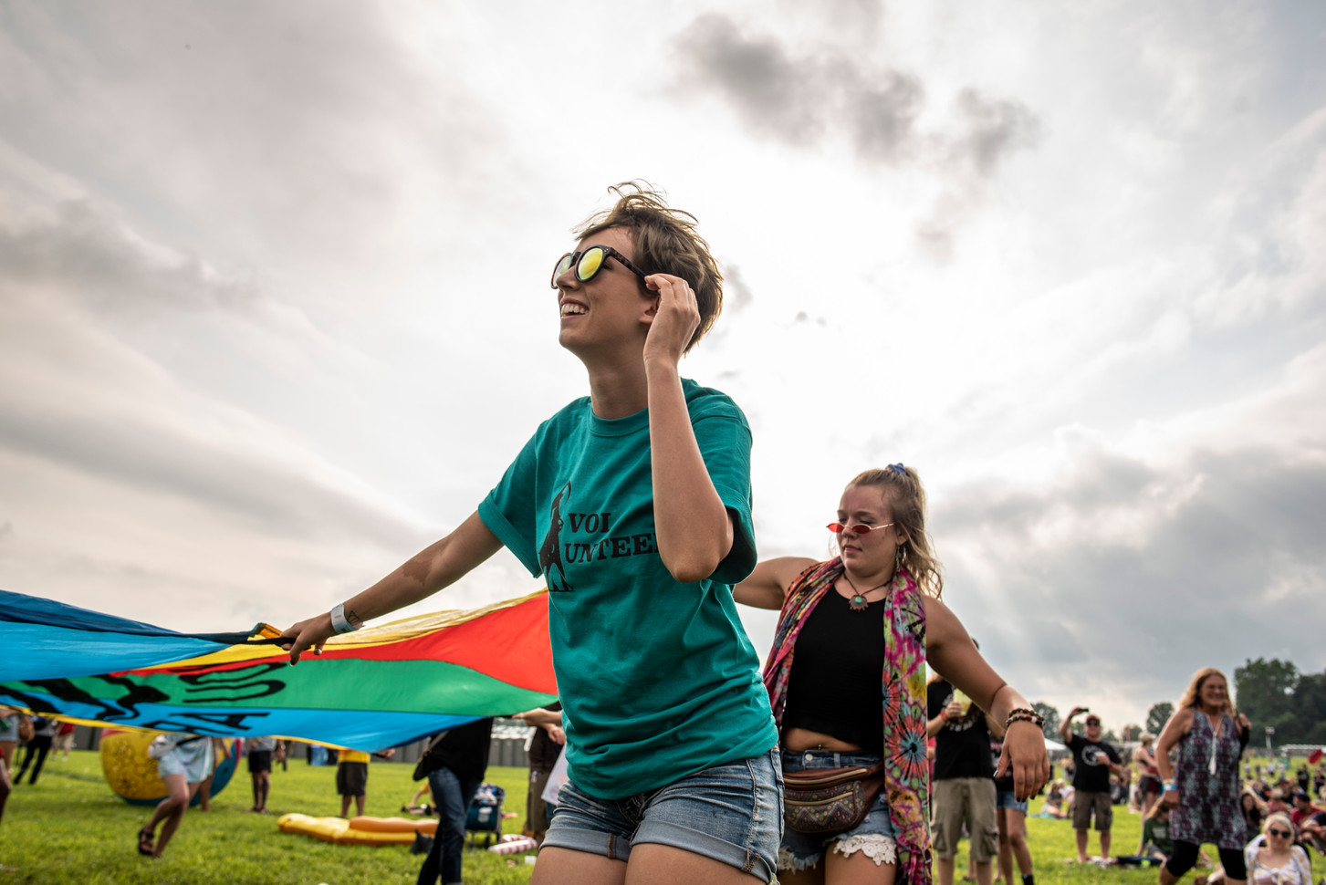 Fans at Bellwether Music Festival have fun with the Roochute, an organization that attends different music festivals to promote positive talks about mental health.
