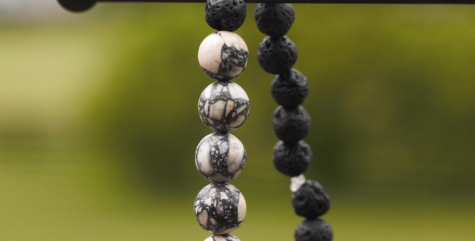 "Hand-Crafted Lava Bead Elastic Bracelet, black, 9"" (medium)"
