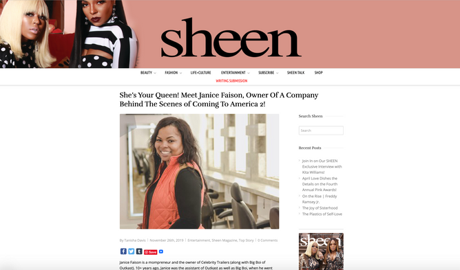 Janice Faison Interviews With National & International Publication, Sheen Magazine