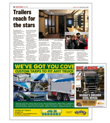 Celebrity Trailers featured in international publication, Big Rigs Australia
