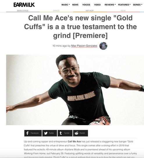 "Call Me Ace's ""Gold Cuffs"" music video premieres on Earmilk.com"