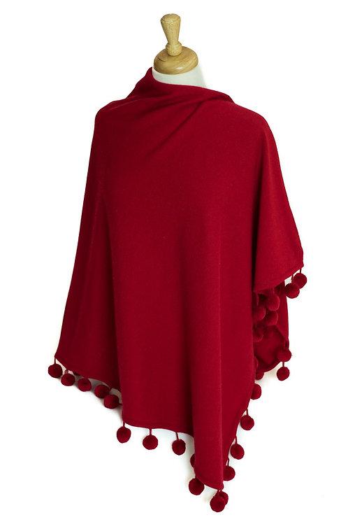 Red - Cashmere/Pompom Poncho