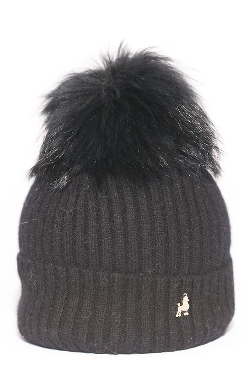 'Molly' Hat - Black with Matching Colour Pom