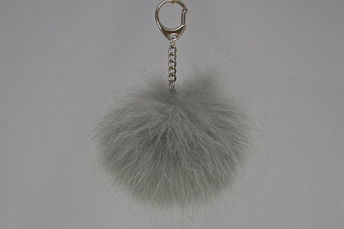 Grey - Simple Pompom Keyring/Bagcharm