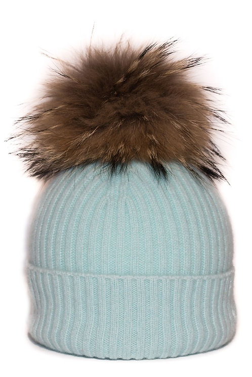 'Maddie' Hat - Light Blue - Natural Colour Pom