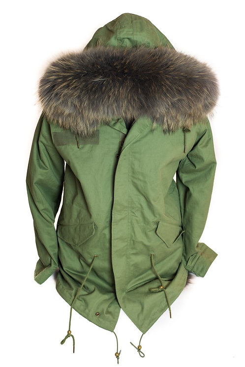 Parka Jacket - Green/Grey