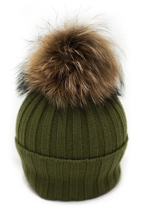 'Olivia' Hat - Olive WIth Raccoon Pompom