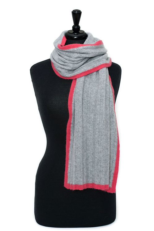 'Millie' Scarf - Dove Grey with Pink Stripe