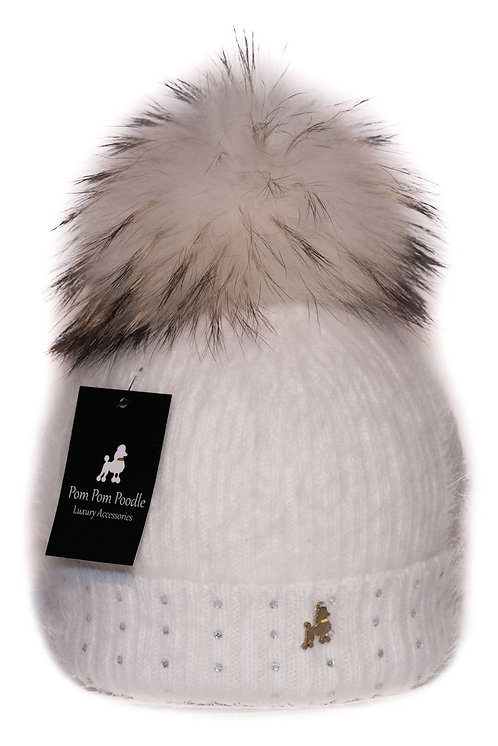 'Jessie' - White Pompom Hat