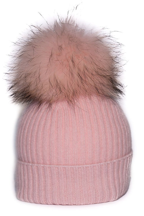 'Molly' Hat - Light Pink with Matching Colour Pom