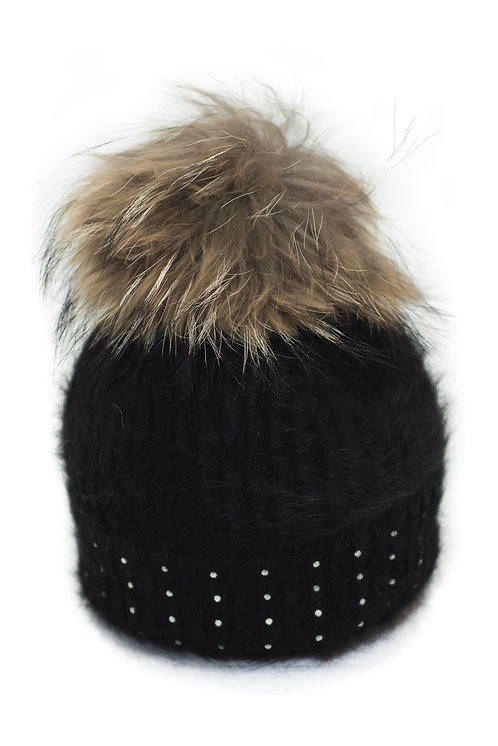 'Katrina' Hat - Black With Raccoon Pompom