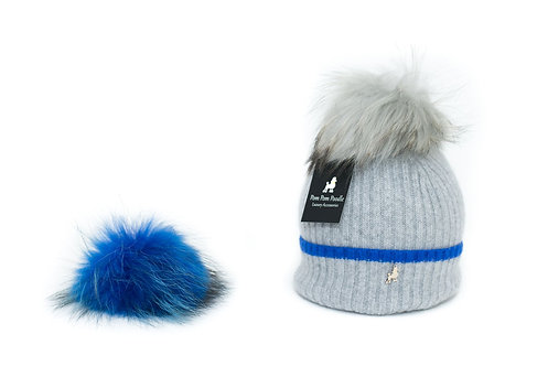 'Millie' Hat - Dove Grey with Neon Blue Stripe