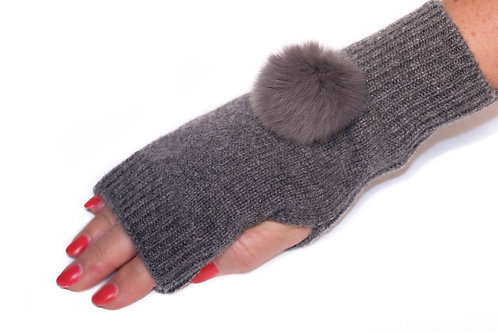 'Molly' Gloves - Charcoal - Matching Colour Poms
