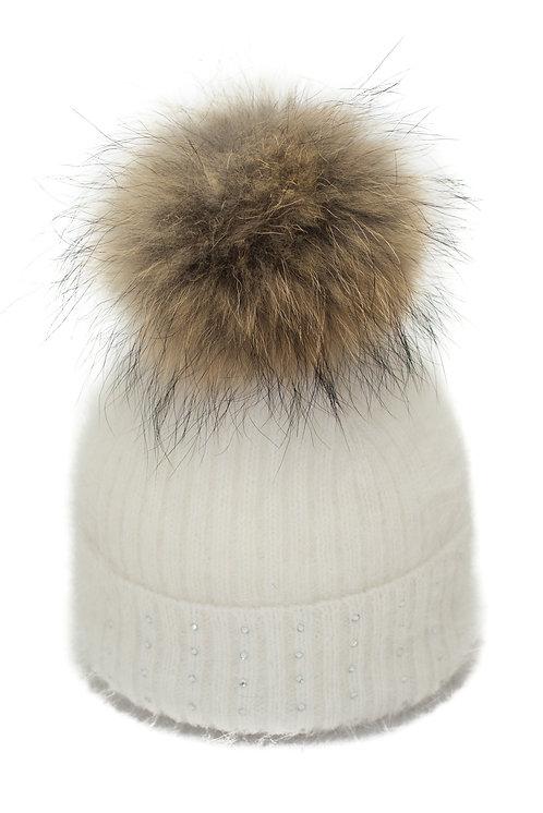 'Katrina' Hat - White With Raccoon Pompom