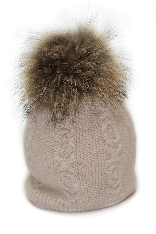 'Sophie' Hat - Beige With Raccoon Pompom