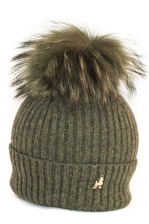 'Molly' Hat - Khaki with Matching Colour Pom