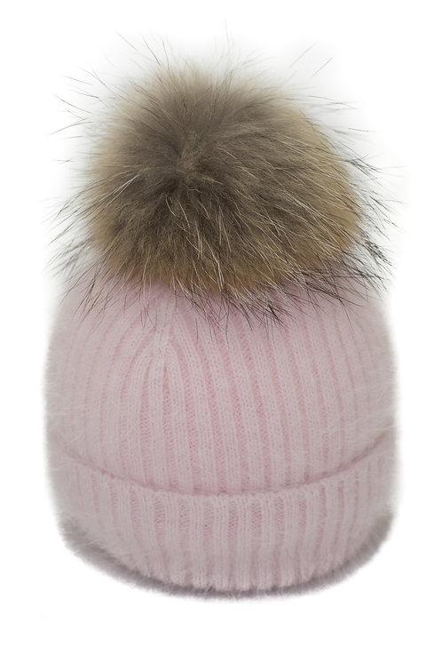 'Tamara' Hat - Pink with Raccoon Pompom