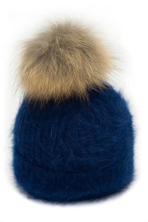 'Tamara' Hat - Navy With Raccoon Pompom