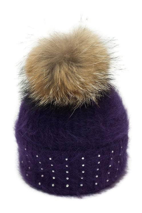 'Katrina' Hat - Purple With Raccoon Pompom