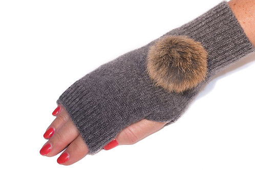 'Maddie' Gloves - Charcoal - Natural Colour Poms