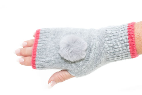 'Millie' Gloves - Dove Grey & Pink - Matching Colour Poms