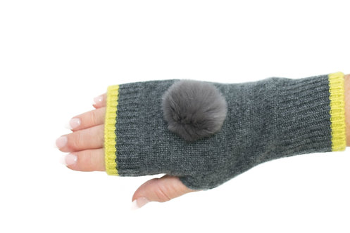 'Millie' Gloves - Charcoal & Yellow - Matching Colour Poms