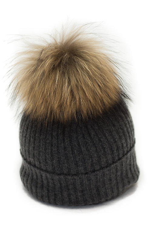 'Maddy' Hat - Charcoal - Natural Colour Pom
