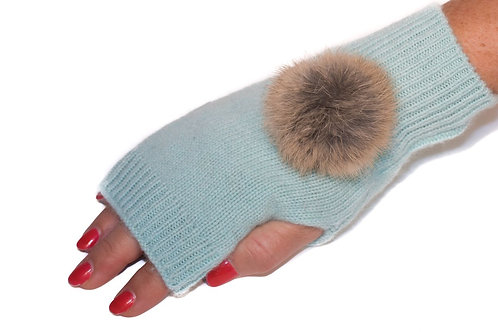 'Maddie' Gloves - Turquoise - Natural Colour Poms