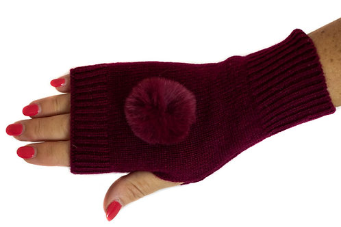 'Molly' Gloves - Burgundy - Matching Colour Poms