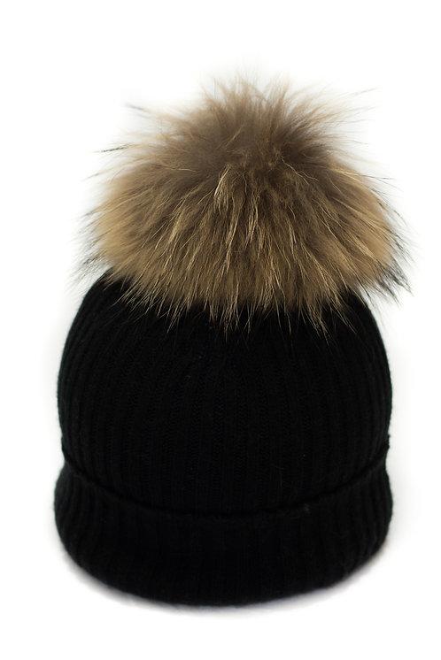 'Maddie' Hat - Black - Natural Colour Pom