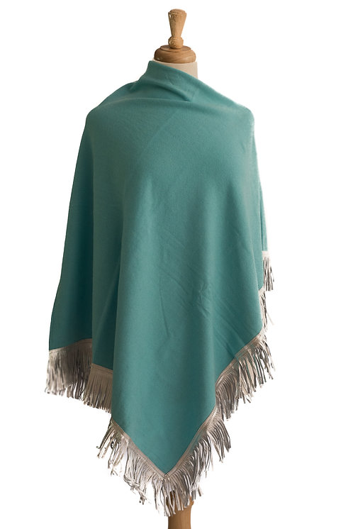 Turqouise Cashmere/Cotton - Silver Leather Fringe