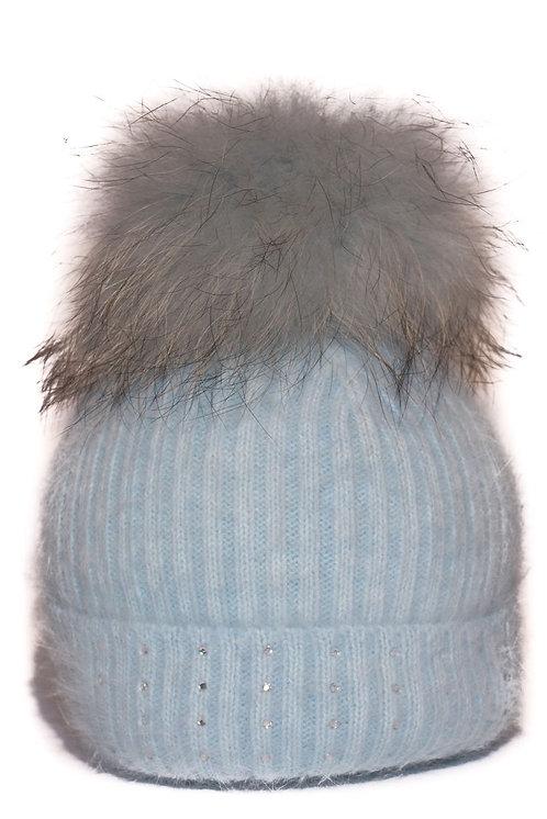 'Jessie' - Light Blue Pompom Hat