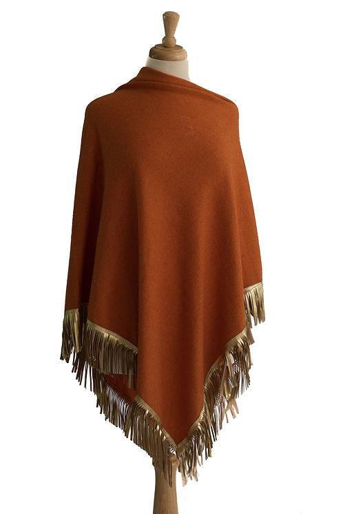 Orange Cashmere/Cotton - Gold Leather Fringe