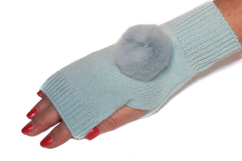 'Molly' Gloves - Turquoise - Matching Colour Poms
