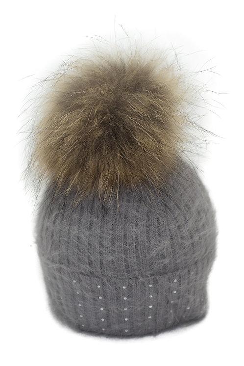 'Katrina' Hat - Grey With Raccoon Pompom